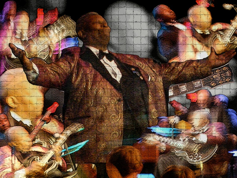 BB at Riverwind is a digital montage on canvas first created as a gift for my cousins, Nikki Harmer and Don Harmer. The piece has been recreated in limited form, with a second copy sold at charity auction and a third in my private collection.